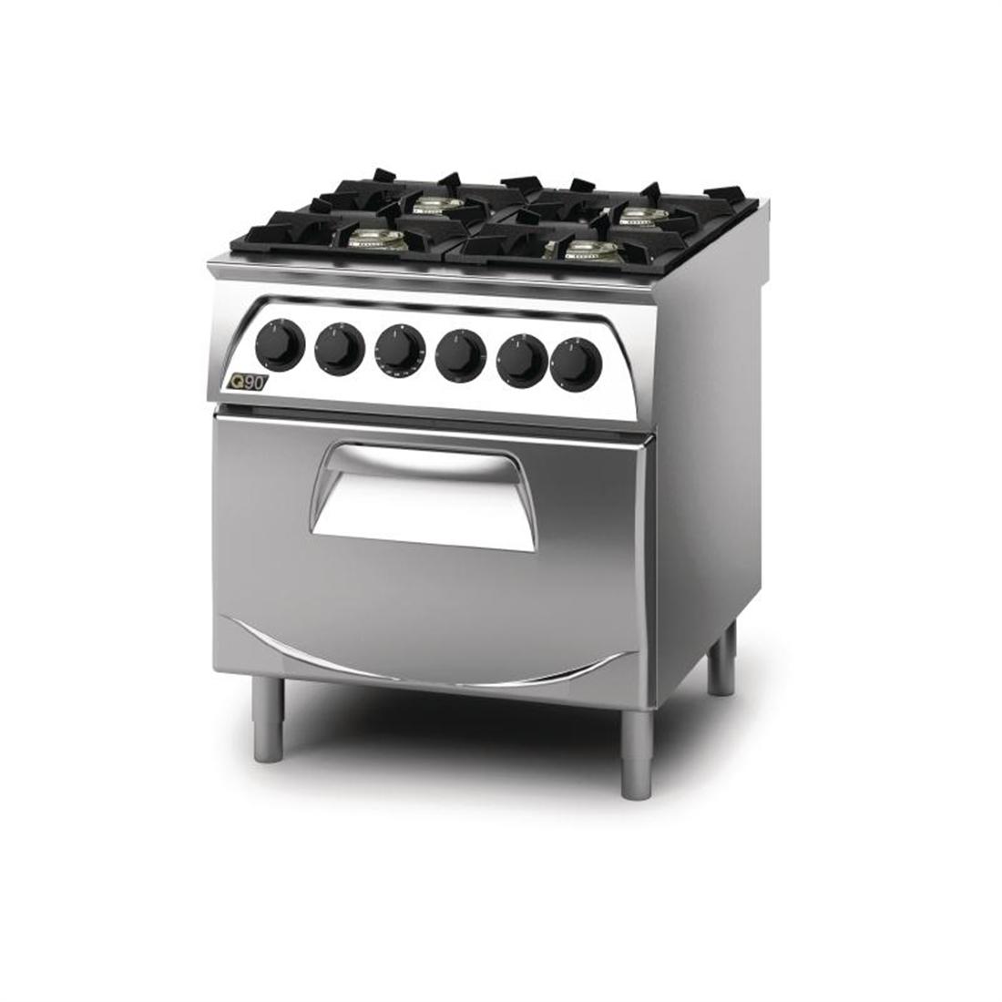 Q90 4 Burner Open Burner Range with Electric 2/1GN Oven Natural Gas ...